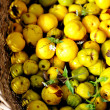 Garden basket filled up with Japan quince - Stock Photo