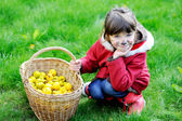 Adorable face painted child girl in the garden — Stock Photo
