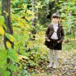 Portrait of adorable child girl in autumn forest — Stock Photo