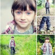 Adorable child girl indian summer time collage — Stock Photo
