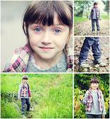 Roztomilé dítě dívka babí léto času koláž — Stock fotografie
