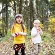 Little boy and little girl eating apples in forest — Stock Photo #7156343