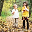 Little boy and little girl eating apples in forest — Stock Photo