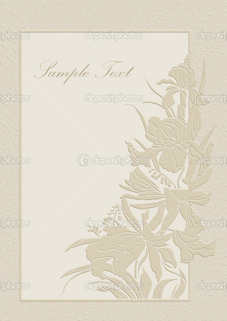 Cute wedding invitation card with orchids and lilies. — Stock Photo #6915554