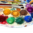 Water-color paint-box and paint brush — Stock Photo
