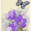 Crocus bouquet with butterfly — Stock Photo #7360158
