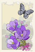 Crocus bouquet with butterfly — Stock Photo