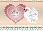 Swan and heart card — Stock Photo