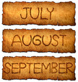 The month in vintage style on aged, old paper — Stock Photo