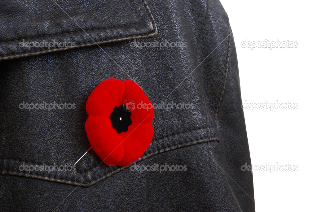 Someone is wearing a poppy in remembrance. — Stock Photo #6820036
