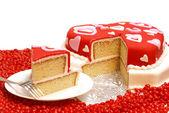 Hjärtformade tårta — Stockfoto