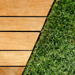 Wood and grass divided by diagonal — Stock Photo #7617569