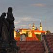 Stock Photo: Statue at Charles Bridge during the Sunrise.