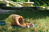 Yoga on the nature — Stock Photo