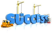 Building your success, building SUCCESS word, representing business develop — Stock Photo