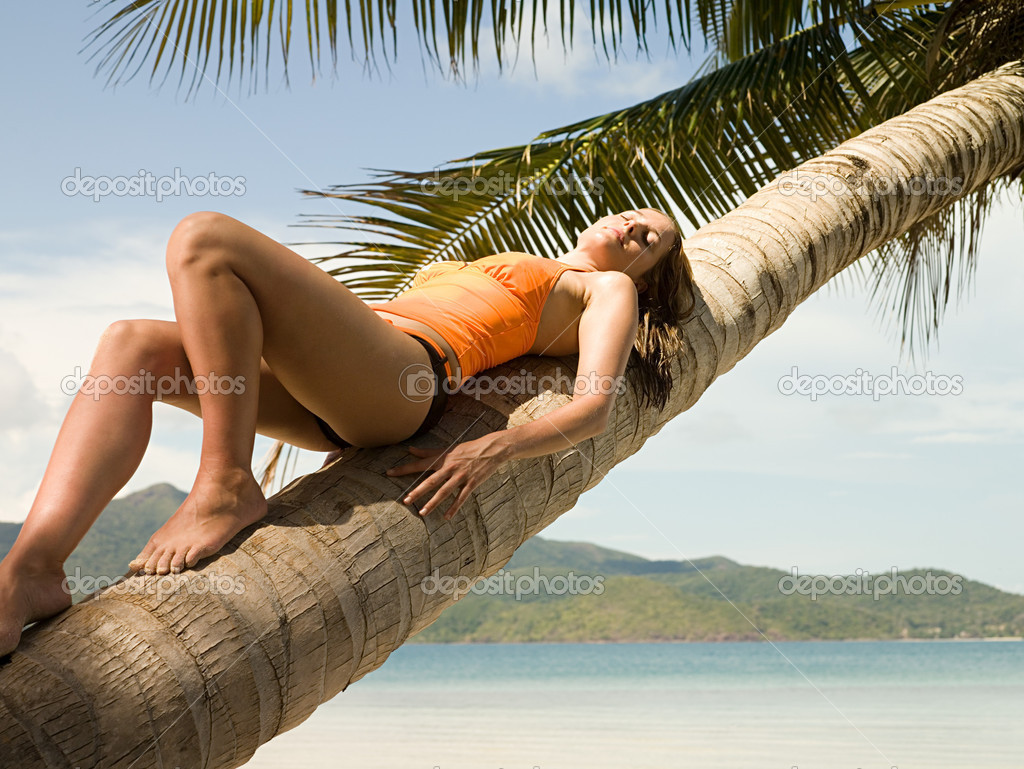 Woman lying on a palm tree  Stock Photo #7031860
