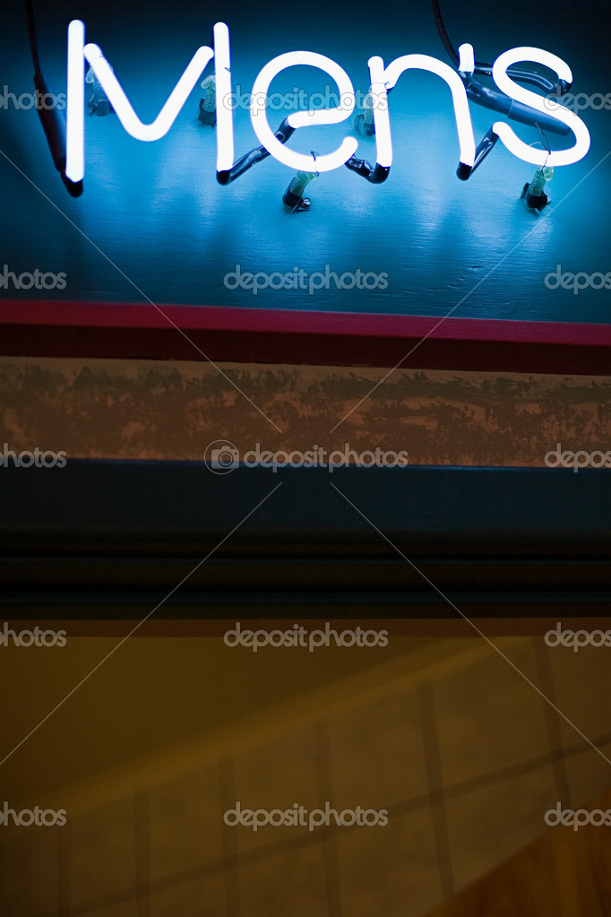Neon sign for mens toilets — Stock Photo #7035944