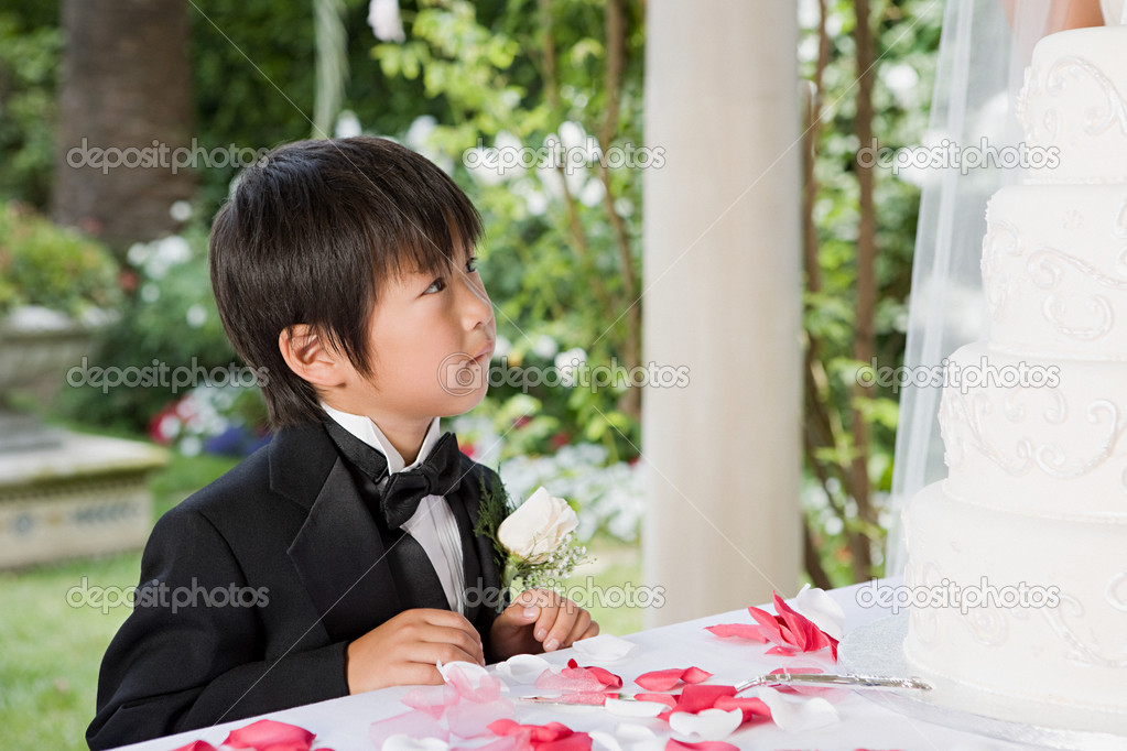 Boy looking at wedding cake  Stock Photo #7039058