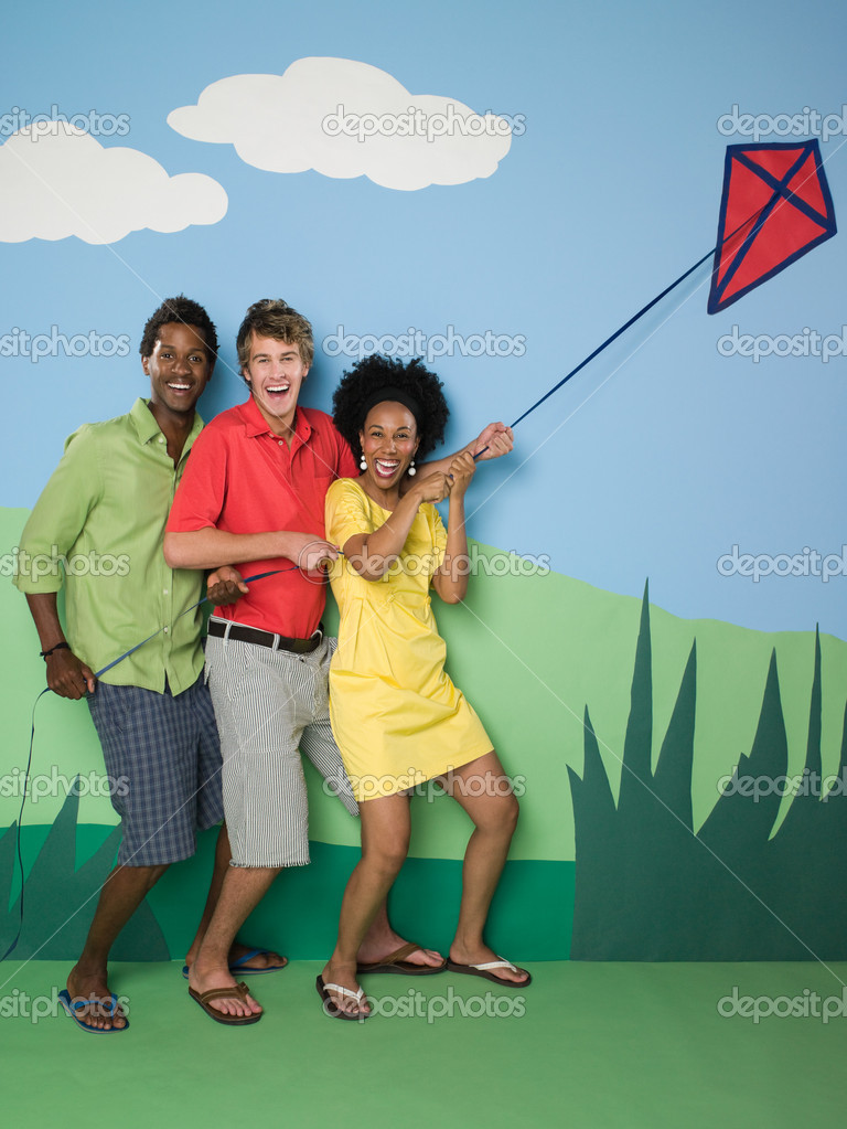 Friends with kite — Stock Photo #7042486