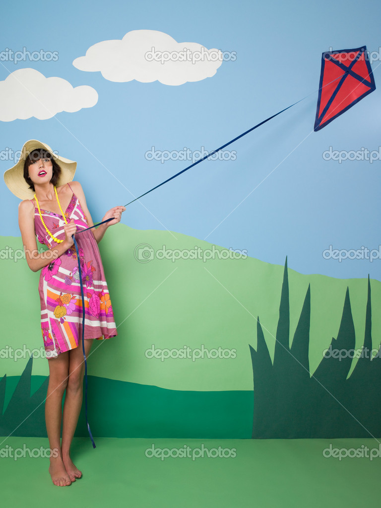Young woman with kite — Stock Photo #7042518