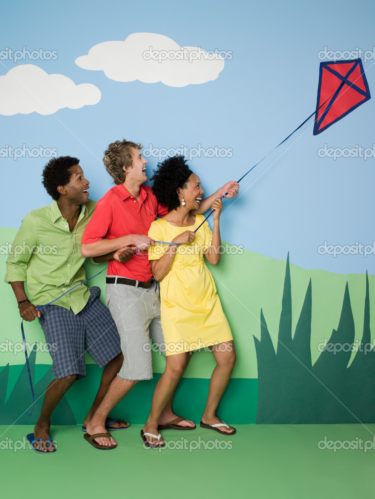 Friends with kite  Foto Stock #7042522