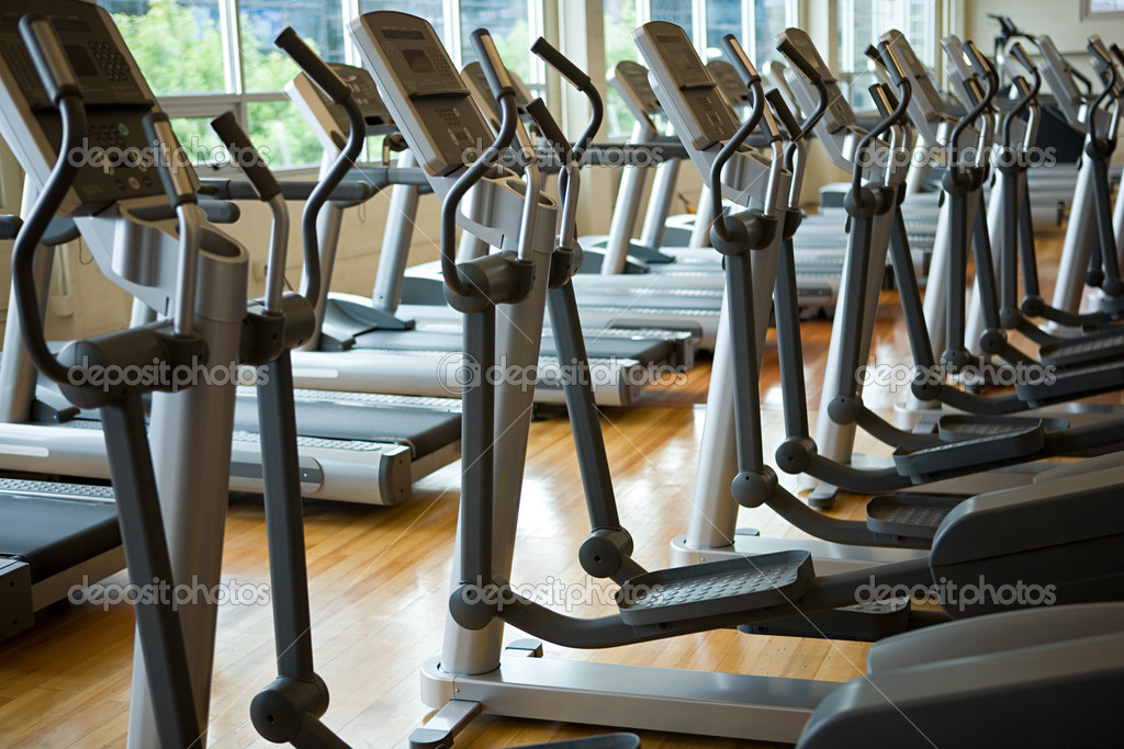 Treadmills in a row  Stock Photo #7042829