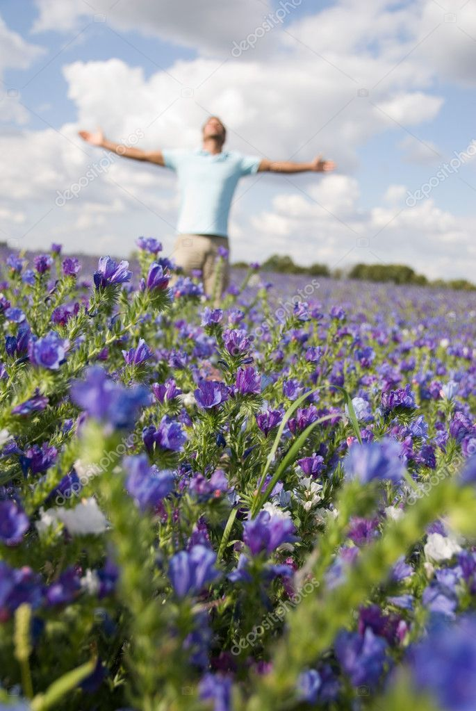 Man in a field of flowers — Stock Photo #7044705