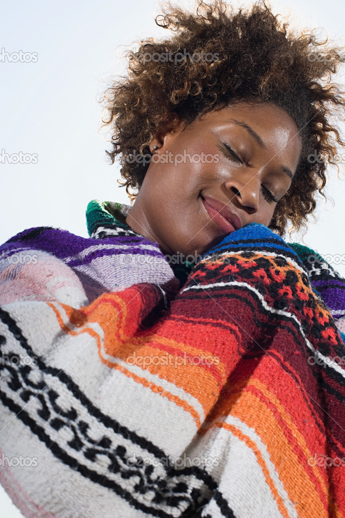 Woman in a blanket — Stock Photo #7044815