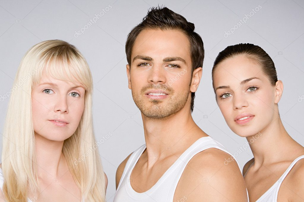 Portrait of two young women and a man — Stock Photo #7058636