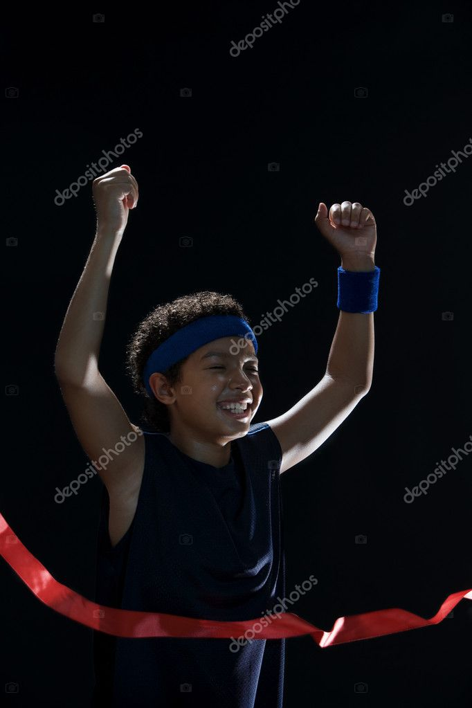 Boy winning a race — Stock Photo #7060240