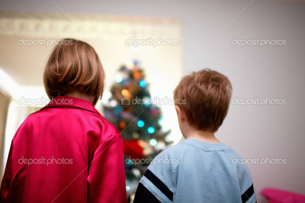 Children with Christmas tree — Stock Photo #7065146