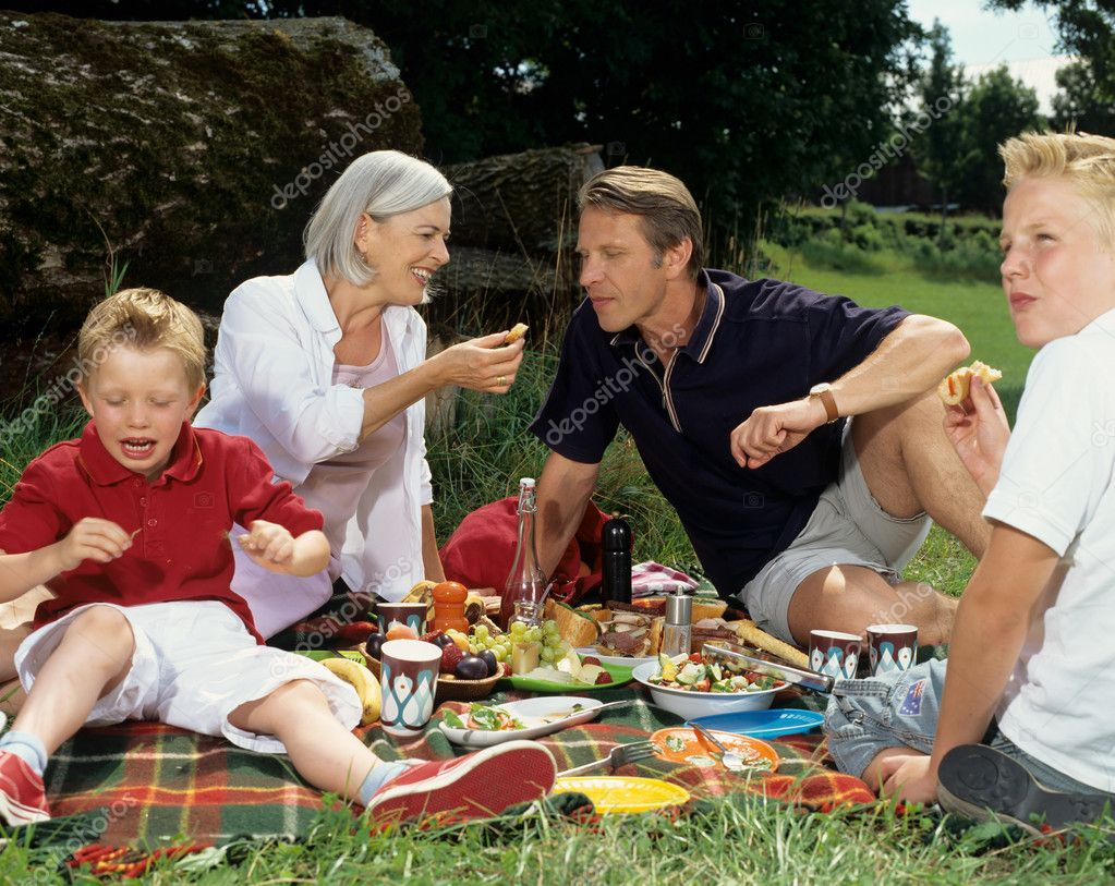 Family enjoying picnic meal. — Stock Photo #7068150