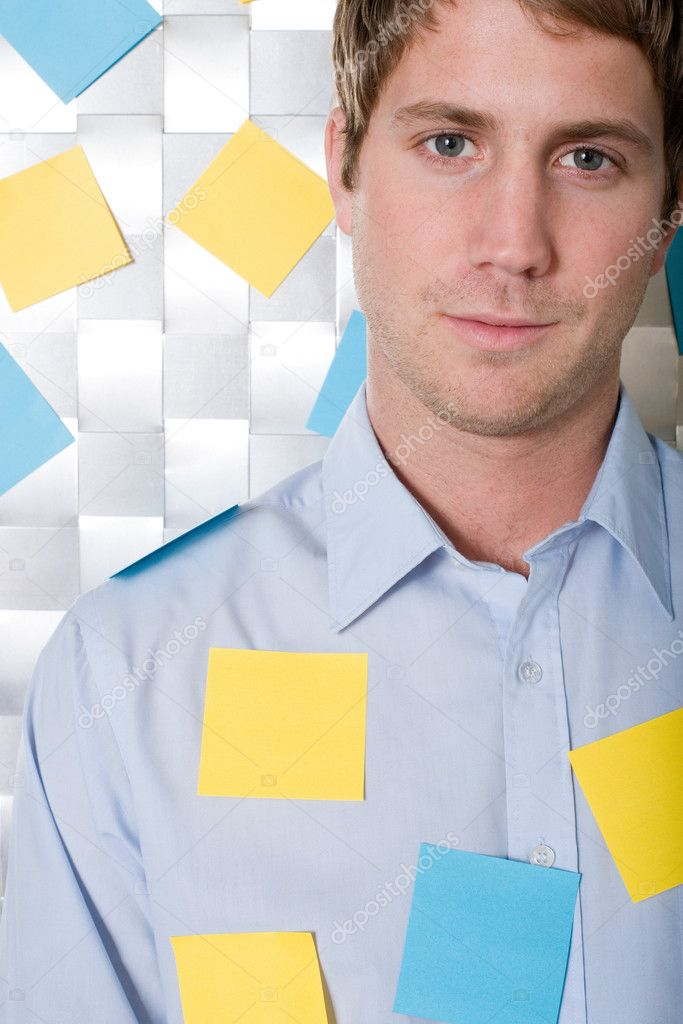 Man covered in adhesive notes  Stock Photo #7072206