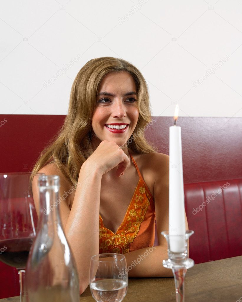 Woman sat in restaurant  Stock Photo #7081595