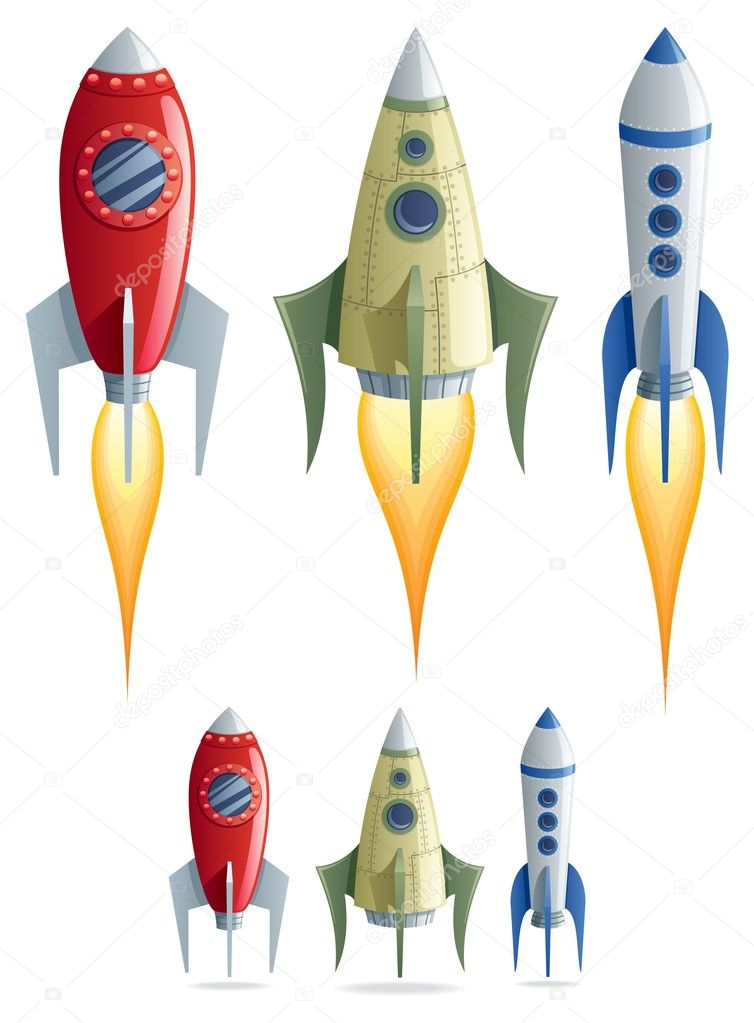Set of 3 cartoon rockets in 2 versions. No transparency used. Basic (linear) gradients. — Stock Vector #7108910