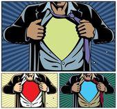 Süper kahraman örtüsü altında — Stok Vektör