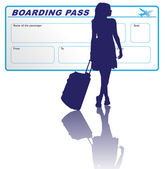 Travelling woman with boarding pass — Stock Vector