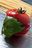 Tomatos and basil — Stock Photo