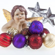 Christmas balls, stars and angel. — Stock Photo