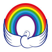 Image of a dove with a rainbow as a symbol of world peace, peaceful childho — Stock Vector
