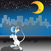 Maus und mond — Stockvektor