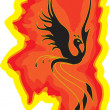 Bird the phoenix rising from the flames — Stock Vector