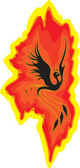 Bird the phoenix rising from the flames — Vettoriale Stock