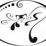 Home glamorous kitten in a circular frame. For your logo — Stock Vector