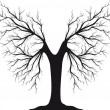 Black silhouette of a tree without leaves — Stock Vector