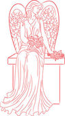 Angel with roses. Red — Stock Vector