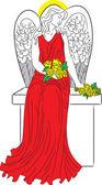 Angel with nimbus — Stock Vector