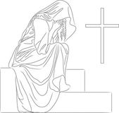 A woman weeps at the grave of the cross — Stock Vector