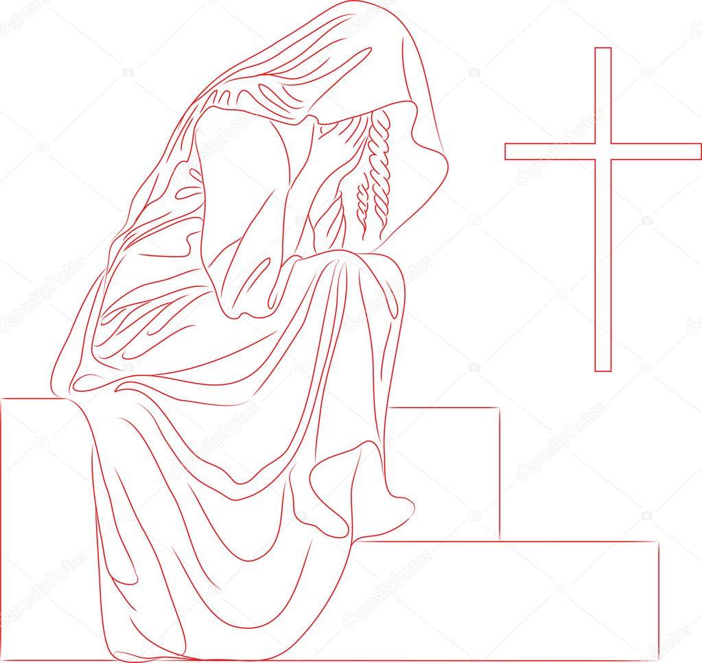 流泪的女生手绘图