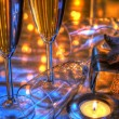 Closeup of champagne and glasses. — Photo
